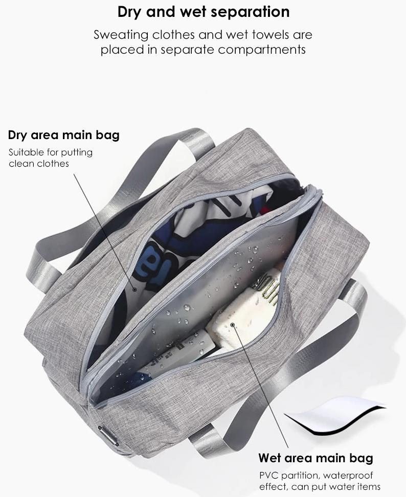 Waterproof Travel Bag Handbag Double Layer Clothes shoes Storage Organizer