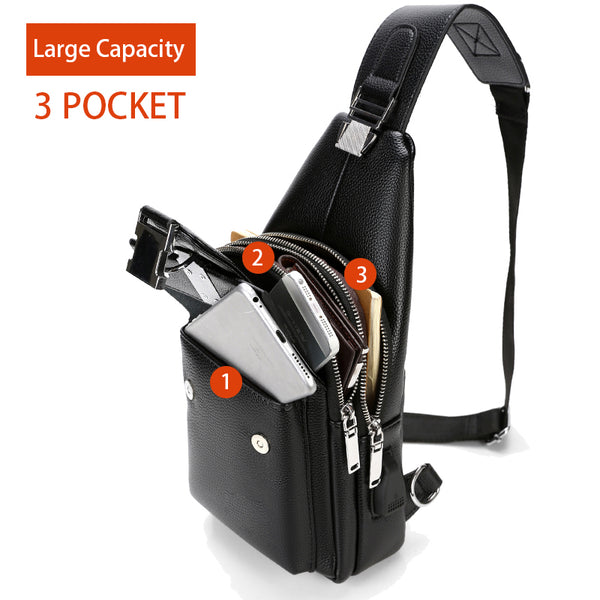 High Quality Man's Messenger Bag PU leather Chest Bags With USB Charge