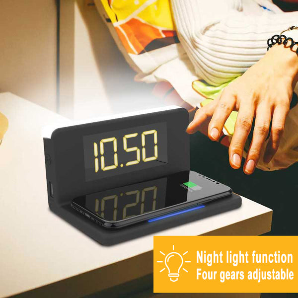 Home Wireless Charger 10W Fast 3 In 1 Multi-function Alarm Clock/ Night Light Phone Holder Smartphone Charging Dock