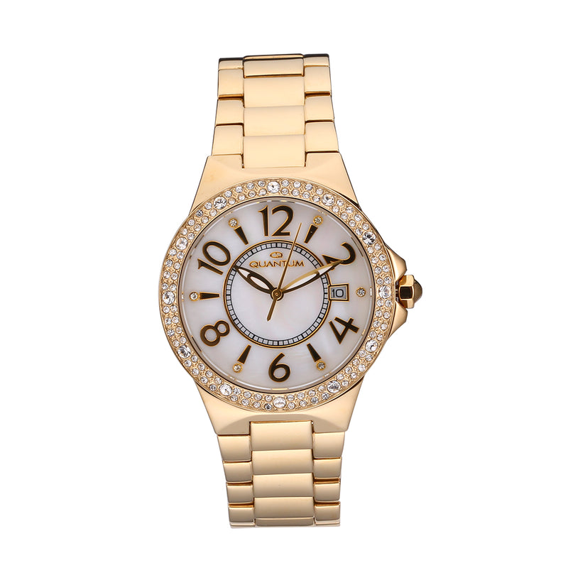 QUANTUM Women's Watch Business  Diamond Accented Dial Analog Wristwatch Stainless Steel 100M Water Resistant  Date Indicator Timepiece