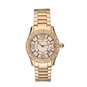QUANTUM Women's Watch Luxury Diamond Decorated Dial Analog Wristwatch Stainless Steel 100M Water Resistant  Date Indicator Timepiece