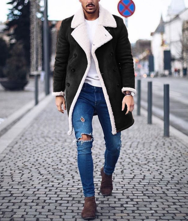 Winter fleece composite suede men's warm jacket