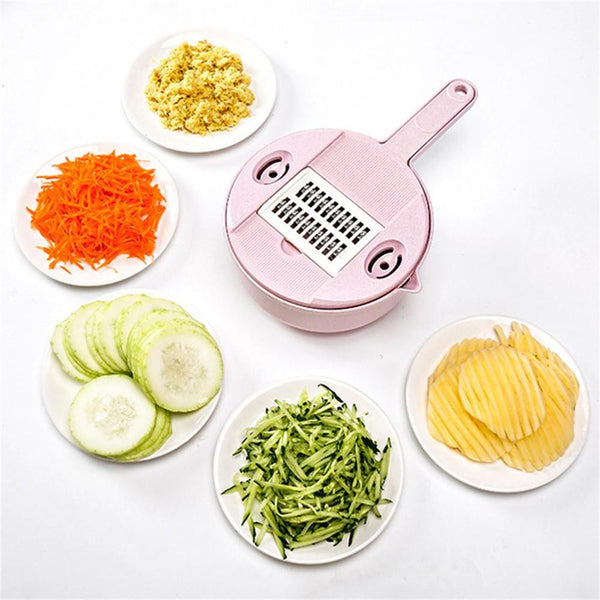 Multi-Function Cheese Grater Vegetable Fruit Cutter Wheat Straw Plastic Peeler Slicer with Egg Divider Colander 【1 Set 12 pcs】