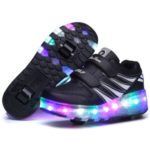 LED Flashing Dounle Wheels Roller Skate Shoes Flash Roller Skating Shoes Colorful Glowing Roller Skates Sneakers For Male Female
