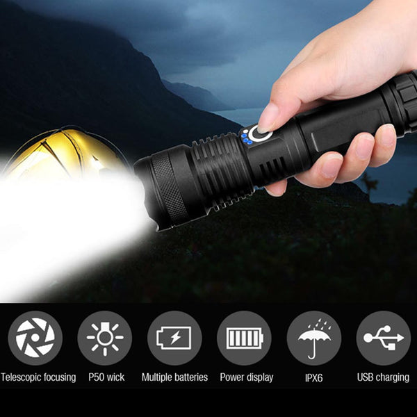 [2Pcs Save 60SAR] Strong Light Torches P50 Brightness Outdoor Charging Zoom Focus Aluminum Alloy Flashlight
