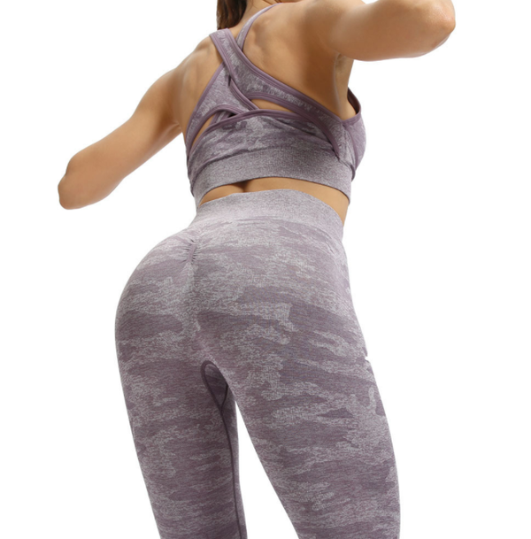 Women's Explosive Seamless Yoga Pants Fitness Running Slim Camo Yoga Set