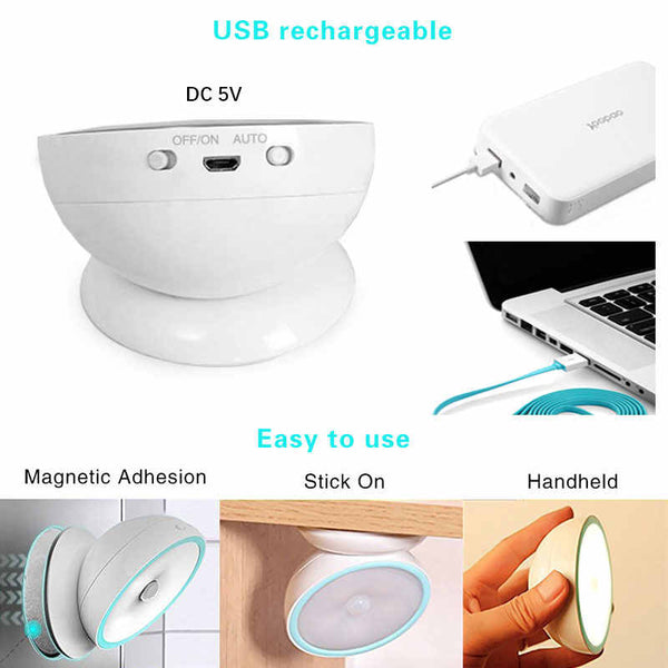 Magnetic Motion Sensor Light USB Charge Sensing Lights Cordless Night light LED Auto wireless for Hallway Bedroom Closet