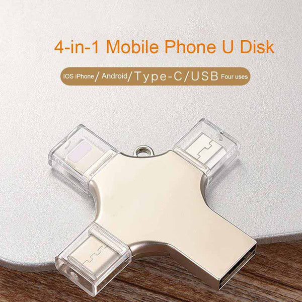 USB3.0 Memory Metal 4-in-1 Mobile Phone U Disk for IOS iPhone/ Android / type-C / USB Interface