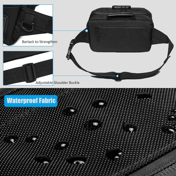 Men Waist Bag Anti-theft Lock Design Bag Belt Wallet Waist Packs Phone Bags Travel Waterproof Chest Pouch Bag
