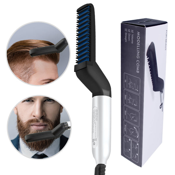 [2PCS save 44SAR] Hair Comb Brush Beard Straightener Comb Hair styling -EU Plug