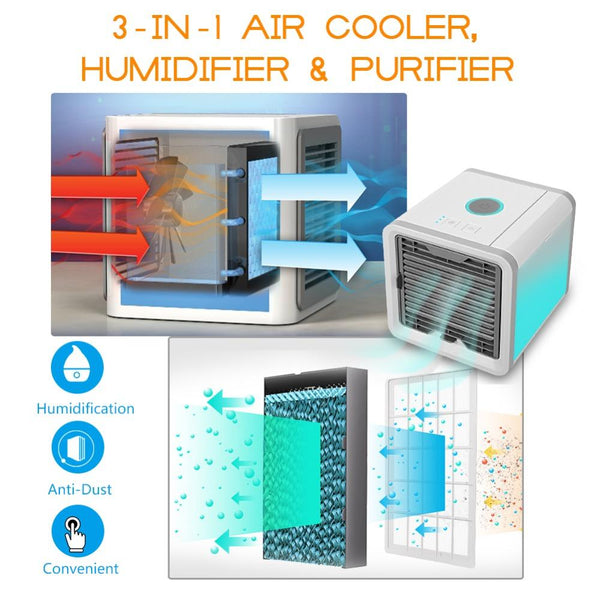 【45% Off Today Only】Portable USB Mini Portable Air Conditioner Humidifier Purifier 7 Colors Light Desktop Air Cooling Fan