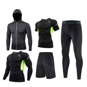 [6PCS]M-4XL Man Compression Sports Quick drying Perspiration Fitness Training Kit Sportswear Jogging