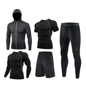 [5PCS]M-4XL Man Compression Sports Quick drying Perspiration Fitness Training Kit Sportswear Jogging