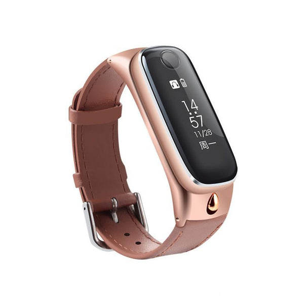 M6 Smart Bluetooth Call Bracelet Sapphire Mirror Leather Strap