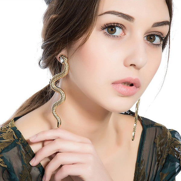 New Stylish Stud Earrings Personality Exaggerated Gold Crystal Alloy Snake Earrings Outlets Jewelry Animal Earrings