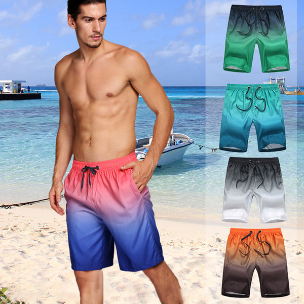 New Swimwear Men Swim Trunks Jammers Polyester Gradient Color