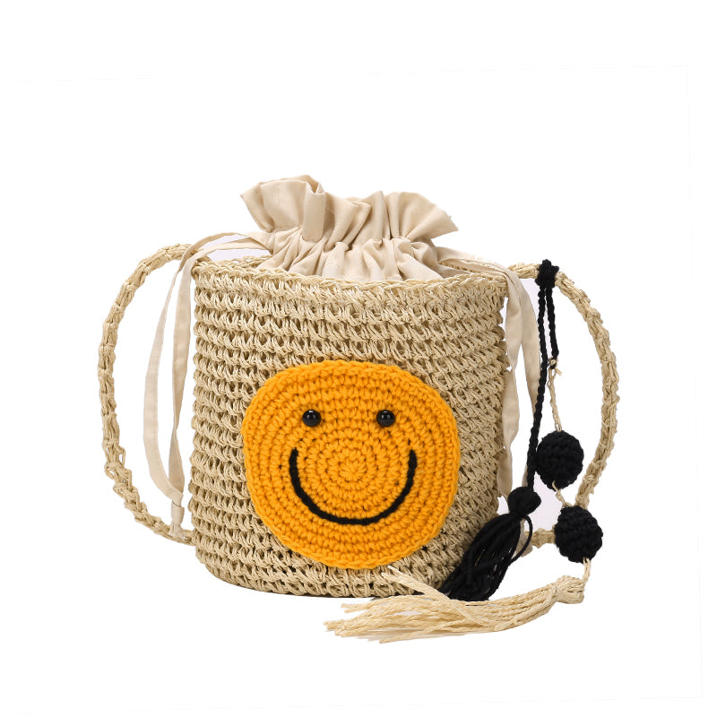 She said/ins cute smiley Messenger bag tassel ball beach holiday wild straw bag