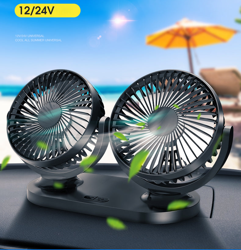 USB Car double-head  Cooling fan 12V/24V