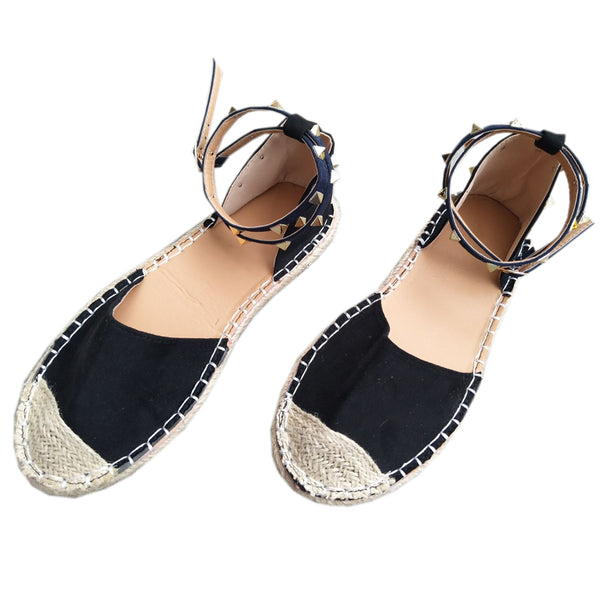 Rivets Beaded Women Fashion Handmade Cotton Fabric Espadrilles Slip on Casual Canvas Loafers Ladies Flat Shoes Size SDC67