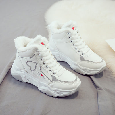 Reflective love high-top shoes autumn and winter new sports shoes female Korean students running casual shoes street shooting wild