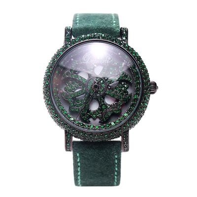 【50% OFF】Tide brand rotating ladies watch rhinestone wool green belt