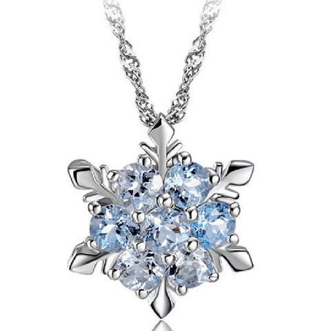 【Buy one get four】Charm Vintage lady Blue Crystal Snowflake Zircon Flower Silver Necklaces & Pendants Jewelry gift for Women girls Wholesale