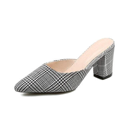 Tangnest 2019 Summer Mules Women High Square Heels Gingham Outside Stretch Fabric Pointed Toe Slippers Casual Shoes XWT1621