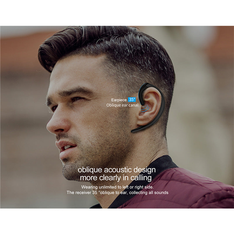 Wireless Bluetooth 4.2 Earphone Single Over Ear Headset with Mic Handfree Business Meeting Driving Call Earphone