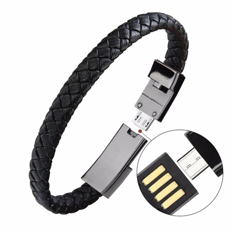 Outdoor Portable Leather Mini Micro USB Bracelet Charger Data Charging Cable