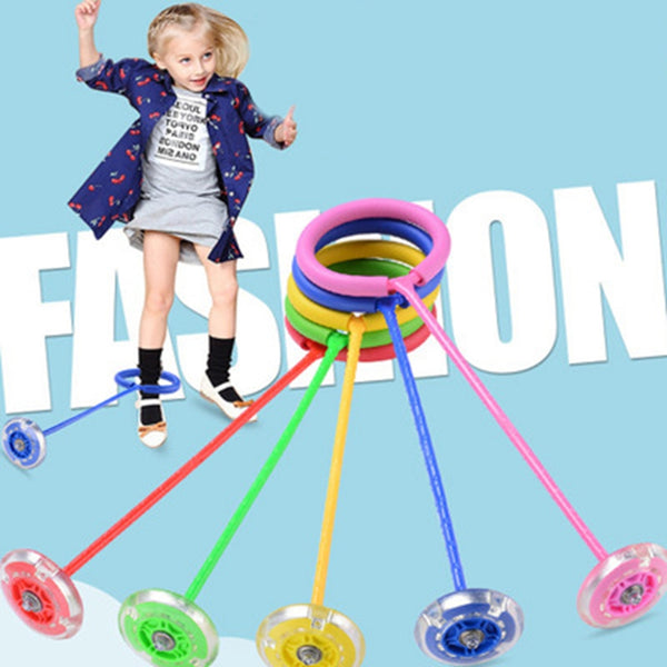 Outdoor Fun Toy Balls Elastic LED Flash Jumping Foot Force Ball Jumping Ring Jumping Circle Bouncing Ball Toy