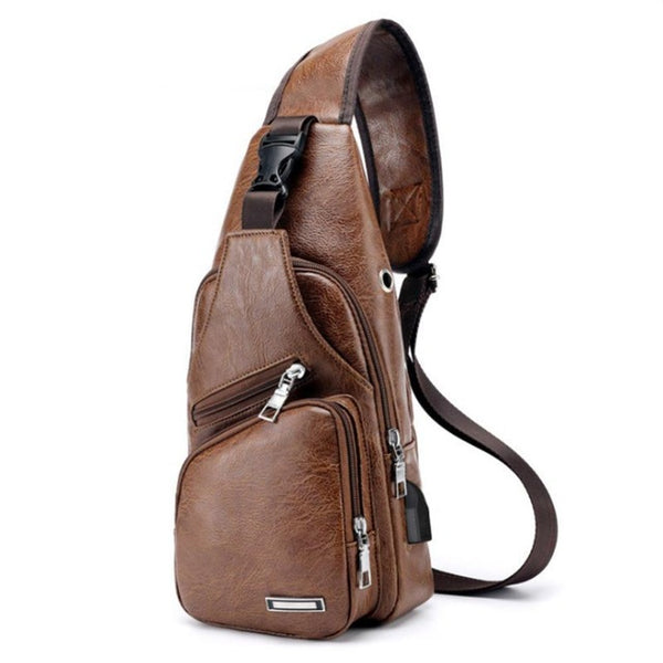 Men's Shoulder Bag Leather Chest Pack Mobile Phone USB Charging Sports Handbag