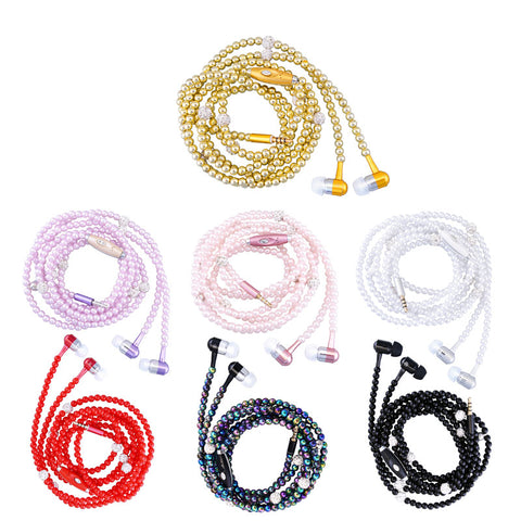 Pink girl Rhinestone Jewelry Pearl Necklace Earphones With Mic Beads 3.5mm headset For iphone Xiaomi Connect To Audio Devices