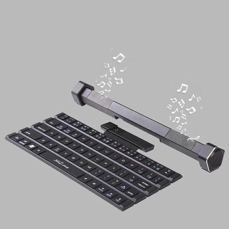 Portable Wireless Rolly Foldable Roll-Back Bluetooth Speaker Keyboard Intelligent Magnetic Switch Home Office