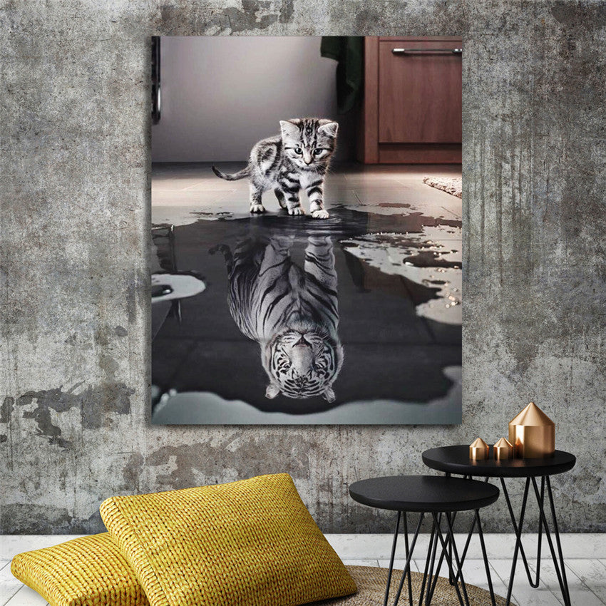 Cat Reflection Tiger Diy Painting By Numbers Animal Oil Painting On Canvas Hand Painted Cuadros Decoracion Acrylic Paint