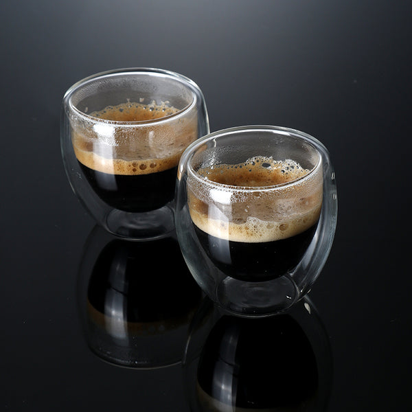 Set of 2/6 80ml Double-wall Insulated Glass Coffee Cup Set for Drinking Teacup