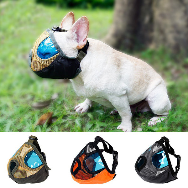 Short Snout Pet Dog Mouth Mesh Muzzle Mask Soft Visible Breathable Adjustable