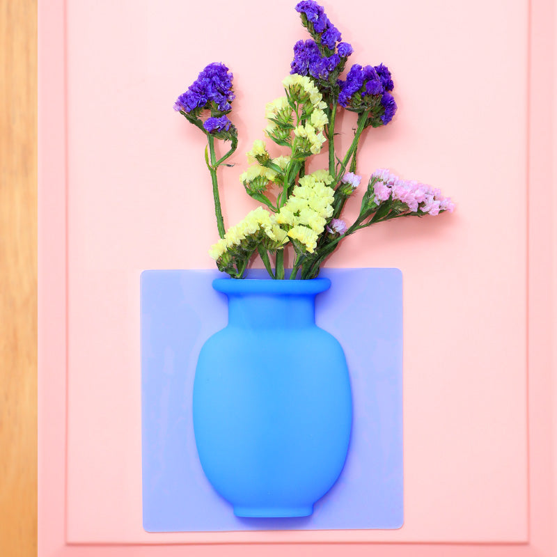 3D Magic Soft Self-sticking Vase Creative Silicone Vase Body for Flower Pots wall sticker home decoration accessories