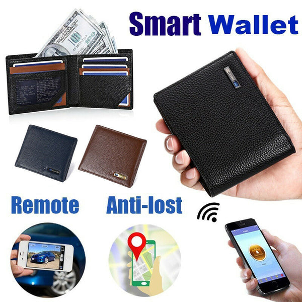 【100% Genuine Leather】Genuine Leather Smart Wallet Tracker Bluetooth Connected with APP Anti Lost Anti Theft Selfie Men Wallet