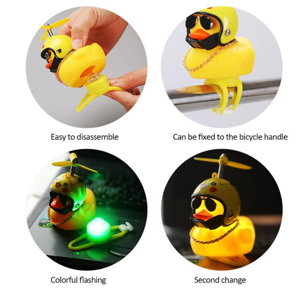 【3* Social Duck Helmet 】Propeller Bicycle Bell Broken Wind Small Yellow Duck Cute Decoration For Cars Riding Without Lights