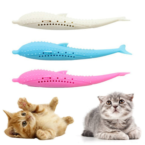 【Buy 1 get 1 free】Cat Fish Shape Toys with Catnip Pet Cat Self-Cleaning Toothbrush Brush Bad Breath Tool