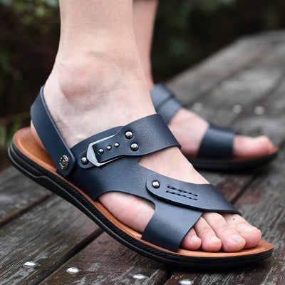 Yomior Hot Sale New Fashion Summer Leisure Beach Travel Men Shoes High Quality Leather Shoes Men's Sandals Breathable Walking