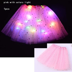 [Buy 1 get 1 free] 10 Colors Women Star Sequins Tutu Skirt LED Light Up Neon Colorful Stage Party