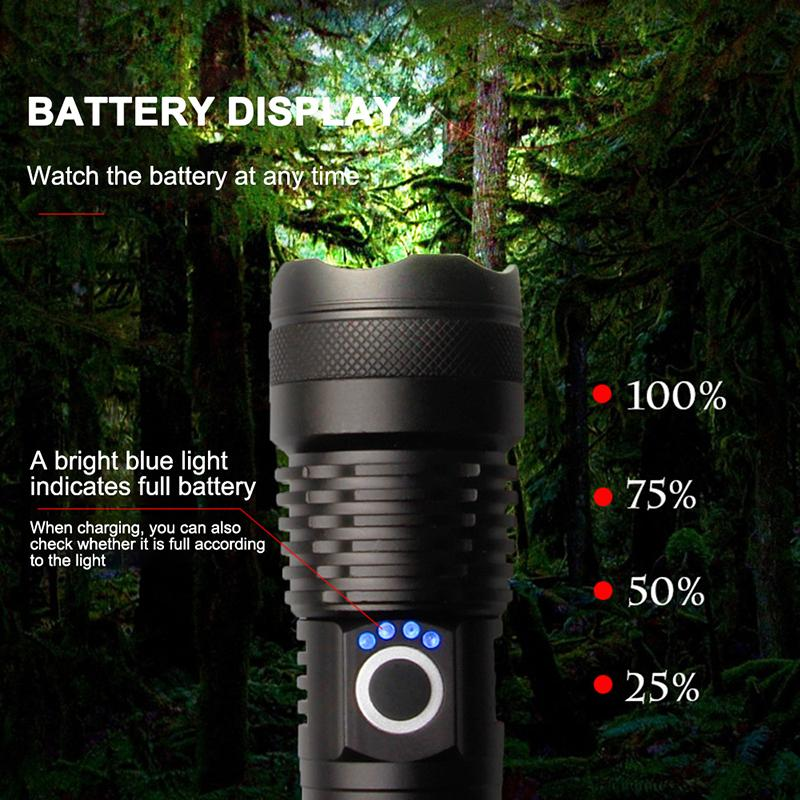 【Today Special】Strong Light Torches P50 Brightness Outdoor Charging Zoom Focus Aluminum Alloy Flashlight