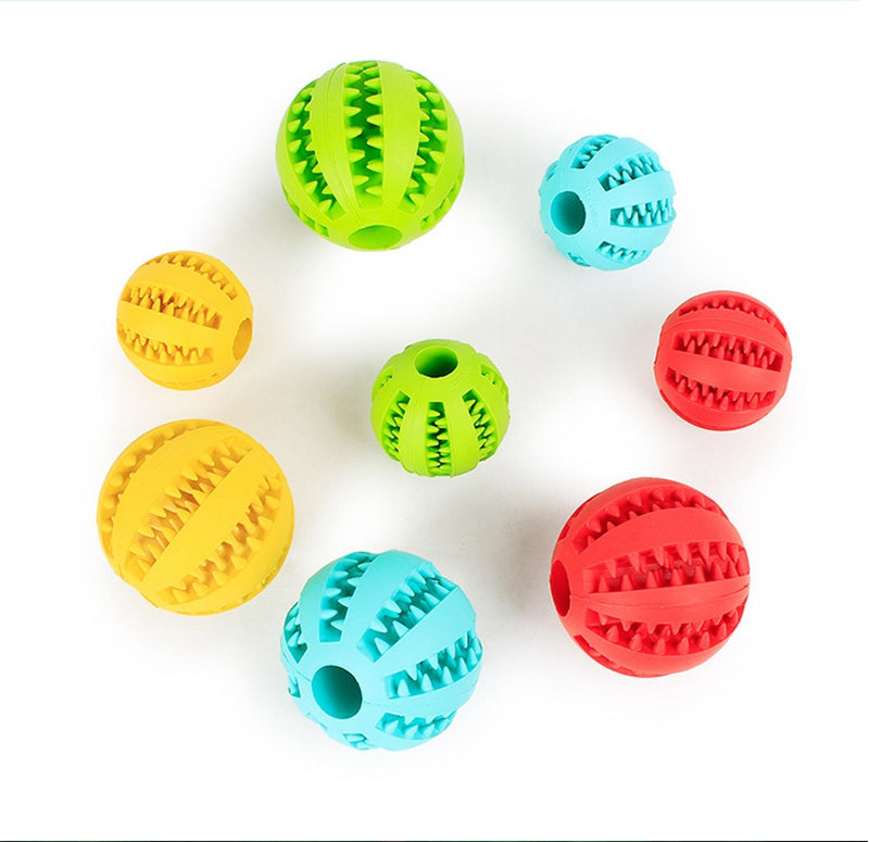 【BUY 1 GET 2 FREE】Dog Thrower Chew Toy Elastic Natural Rubber Mint Ball Feeding Ball Pet Teeth Chew Cleaning Balls Food Funny mint Interactive E