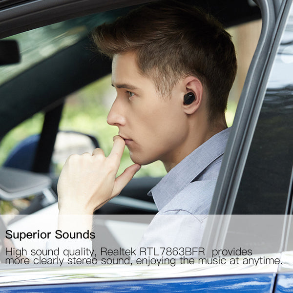 Micro Mini Bluetooth 5.0 Earphone with USB Charger Built-in Volume Button RTL7863BFR Wireless Headphones with Microphone