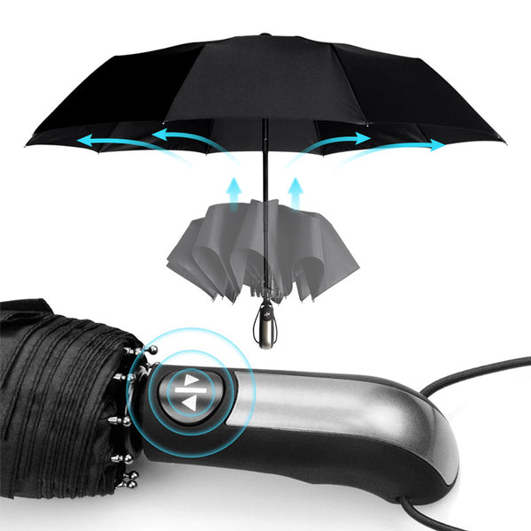 Wind Resistant Three Folding Automatic Umbrella Rain  Auto Luxury Big Windproof Umbrellas Men Frame Windproof High Quality