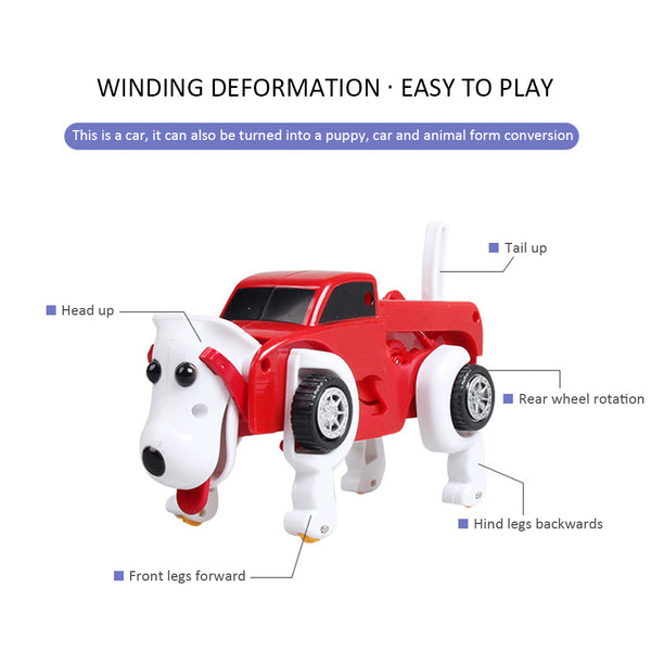 Wind Up Toy Clockwork toy winding deformation dog energy storage deformation kids toy car kids gift