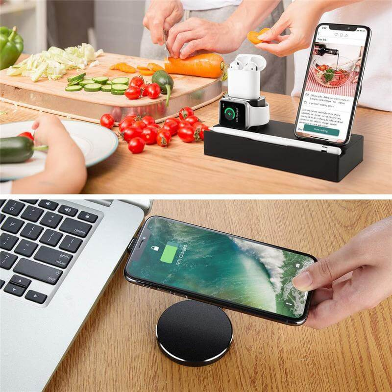 Wireless charging bracket Aluminum lazy flat bracket Function 8-in-1 mobile phone watch wireless charging bracket