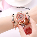 Women Lucky Magnet Quartz Wrist Watch Flower Luxury Casual Female Quartz Watch