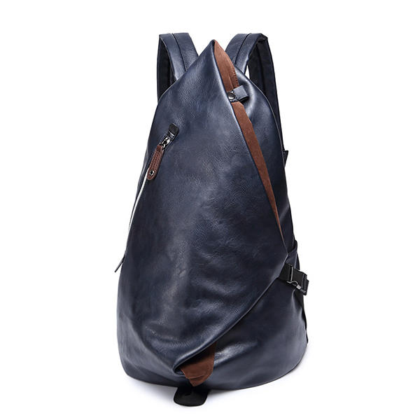 14 inches Men PU Leather Minimalist Leisure Travel Backpack Large Capacity Laptop Bag Satchel